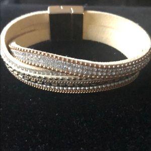 2 Chic Suede Cream Embellished Wrap Bracelet